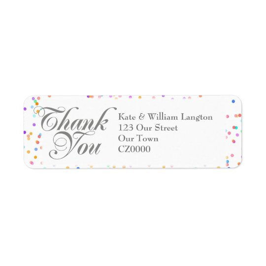 Romantic Rainbow Confetti Wedding Thank You Return Address Label