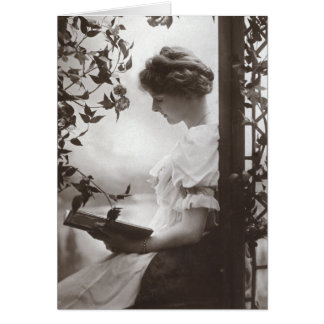 Romantic Reading Woman Greeting Card