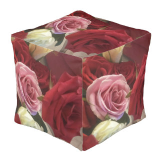 Romantic Red and Pink Roses Print Cube Pouf