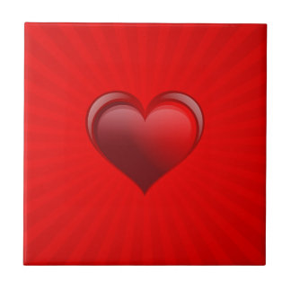 Romantic red banner gift with love and red heart ceramic tile
