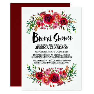 Romantic Red Floral Bridal Shower Card