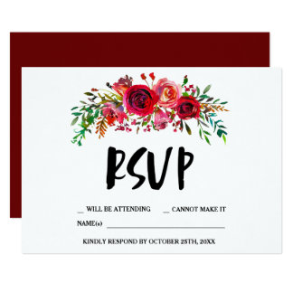 Romantic Red Floral RSVP Card