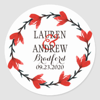 Romantic Red Floral Wreath I Wedding Sticker