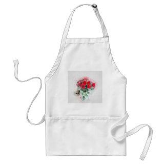 Romantic red flower bouquet standard apron