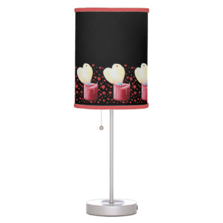 romantic red heart shaped flame candle painting table lamp