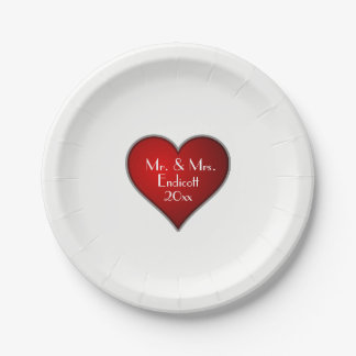 Romantic Red Heart with Name and Wedding Date 7 Inch Paper Plate