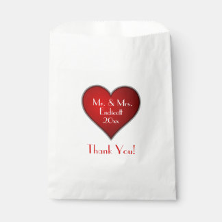 Romantic Red Heart with Name and Wedding Date Favour Bag