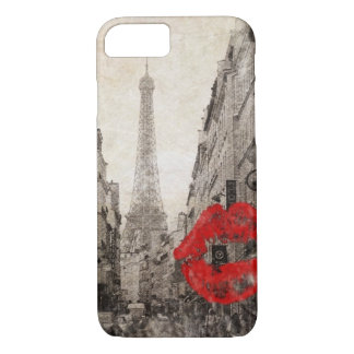 romantic Red lips Kiss I love paris eiffel tower Case-Mate iPhone Case