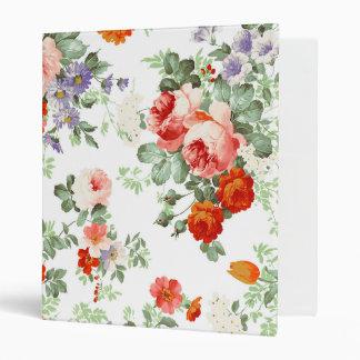 Romantic Red Orange Retro Girly Roses Floral Vinyl Binders