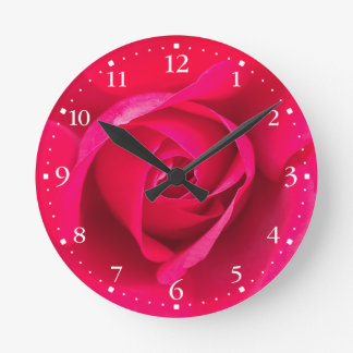 Romantic Red Pink Rose v2 Clock