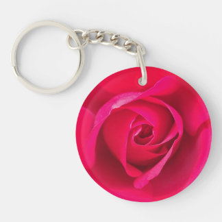 Romantic Red Pink Rose v2 Keychain