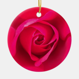 Romantic Red Pink Rose v2 Round Ceramic Ornament