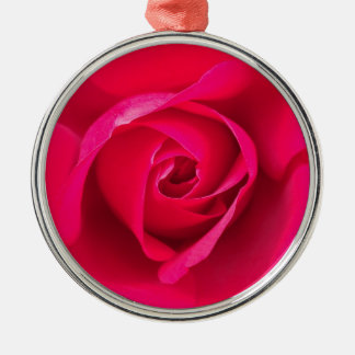 Romantic Red Pink Rose v2 Silver-Colored Round Ornament