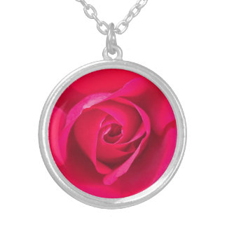 Romantic Red Pink Rose v2 Silver Plated Necklace
