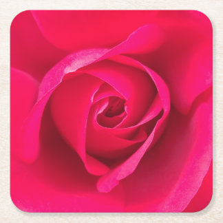 Romantic Red Pink Rose v2 Square Paper Coaster