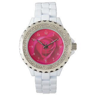 Romantic Red Pink Rose v2 Wrist Watches
