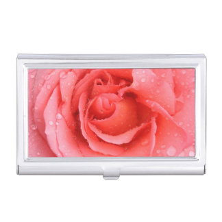 Romantic Red Pink Rose Water Drops Business Card Holder