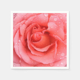 Romantic Red Pink Rose Water Drops Disposable Napkin