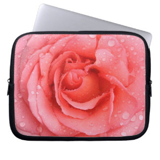 Romantic Red Pink Rose Water Drops Laptop Computer Sleeve