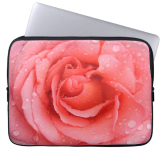 Romantic Red Pink Rose Water Drops Laptop Sleeve