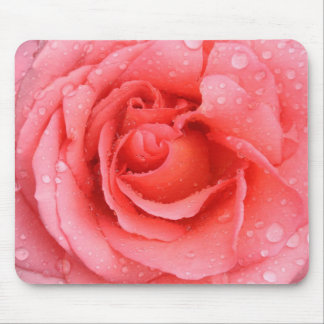 Romantic Red Pink Rose Water Drops Mouse Pad