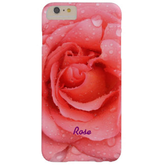 Romantic Red Pink Rose Water Drops Personalized Barely There iPhone 6 Plus Case