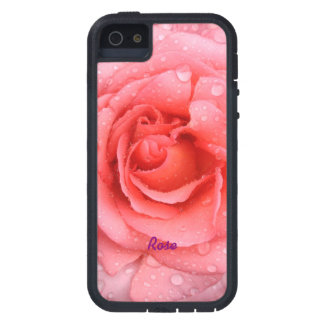 Romantic Red Pink Rose Water Drops Personalized Case For The iPhone 5