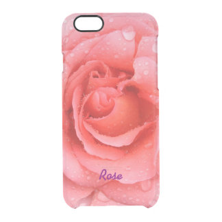 Romantic Red Pink Rose Water Drops Personalized Clear iPhone 6/6S Case
