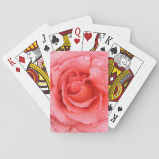 Romantic Red Pink Rose Water Drops Playing Cards