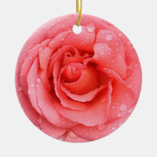 Romantic Red Pink Rose Water Drops Round Ceramic Ornament