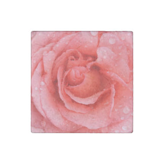 Romantic Red Pink Rose Water Drops Stone Magnets