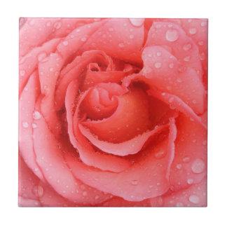 Romantic Red Pink Rose Water Drops Tile