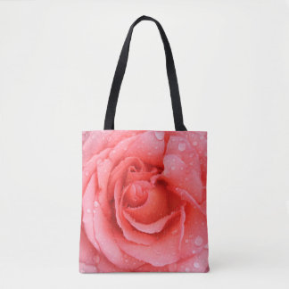 Romantic Red Pink Rose Water Drops Tote Bag