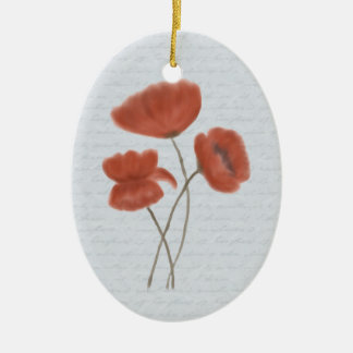 Romantic Red Poppies Ornament