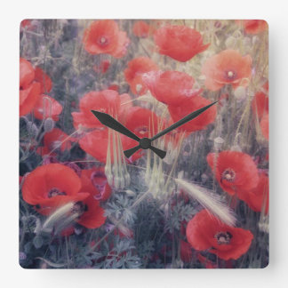 Romantic Red Poppy Field Modern Wall Clock