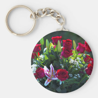 Romantic Red Rose Bouquet Basic Round Button Keychain