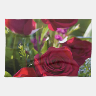 Romantic Red Rose Bouquet Hand Towel