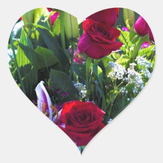 Romantic Red Rose Bouquet Heart Sticker