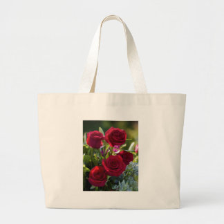 Romantic Red Rose Bouquet Large Tote Bag