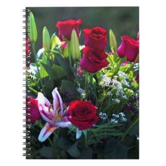 Romantic Red Rose Bouquet Note Book