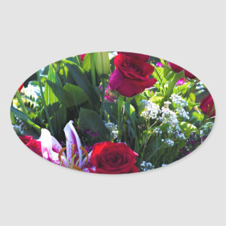 Romantic Red Rose Bouquet Oval Sticker