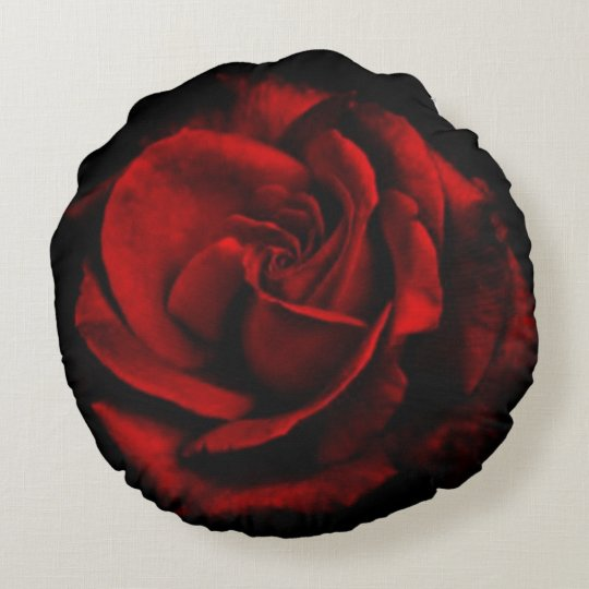 Romantic Red Rose Flower Black Round Pillow