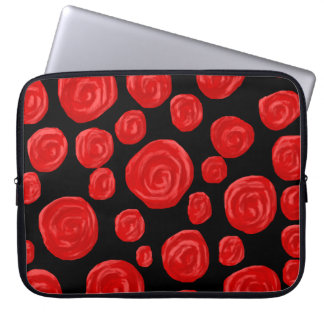Romantic red roses on black background. laptop sleeve