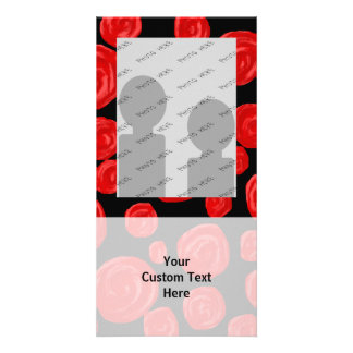 Romantic red roses on black background. customized photo card