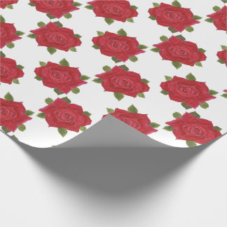 Romantic Red Roses on White Custom Wrapping Paper