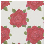Romantic Red Roses Pattern on White Custom Fabric