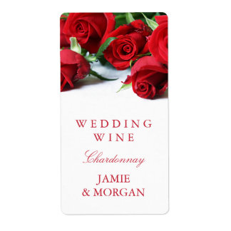 Romantic Red Roses Wedding Wine Label