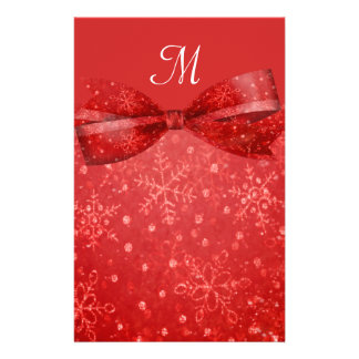 Romantic Red & Shimmer Snowflakes Wedding Stationery Paper