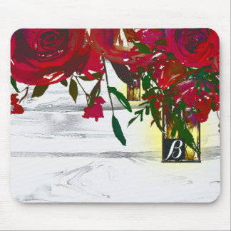 Romantic Red Watercolor Roses & Lantern Rustic Mouse Pad