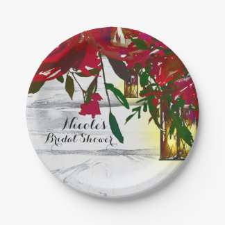 Romantic Red Watercolor Roses & Lantern Wedding 7 Inch Paper Plate